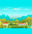 hills and mountains landscape house farm in flat vector image vector image