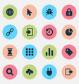 interface icons set with diagram log in globe vector image