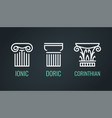 ionic doric and corinthian icons in lineart style vector image vector image
