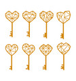 key is in shape a heart set of vector image vector image