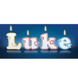 LUKE written with burning candles vector image vector image