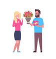 man present girl gift and flowers for vector image