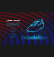 neon football boot outline soccer boot for vector image vector image