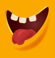 open mouth with three teeth and tongue out vector image