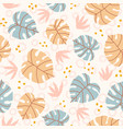 pastel monstera leaves and plants seamless pattern vector image vector image