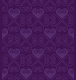 purple pattern with heart in art deco style vector image vector image