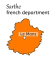 Sarthe french department map vector image vector image