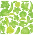 Seamless with green leaves on white background vector image