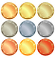 set of medals from various types of metal gold vector image vector image