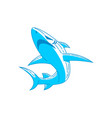shark badge logo outline design isolated vector image