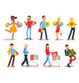 shopping people concepts flat design vector image vector image