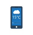 smartphone with weather application on screen vector image vector image