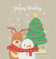 snowman and reindeer with tree gifts celebration vector image