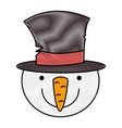 snowman christmas character icon vector image vector image