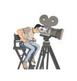 stage director on set pop art retro vector image vector image