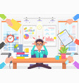 stressful man in modern office colorful banner vector image