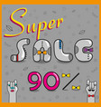 super sale ninety percents unusual font vector image vector image