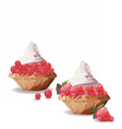 Tart cakes with strawberry and raspberry vector image vector image