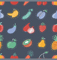 the seamless fruits pattern on dark background vector image