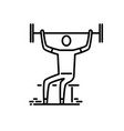 thin line icon man with barbell doing vector image vector image