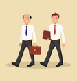 two businessmen in white shirts go to the office vector image vector image