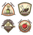 vintage colored gardening emblems set vector image vector image