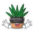 virtual reality cartoon zebra cactus blooming in vector image vector image