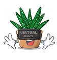 virtual reality cartoon zebra cactus blooming in vector image