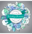 Wedding invitation green and white hand drawn vector image vector image