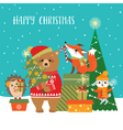 Woodland Christmas greetings vector image