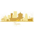 xian china city skyline golden silhouette vector image vector image