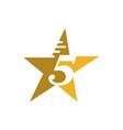 yellow 5 five star logo design vector image vector image