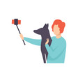 young man taking selfie photo with his dog guy vector image vector image