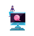young woman using laptop computer with desktop vector image vector image