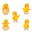 happy chicks cartoon collection vector image