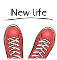 Summer trendy sports shoes Feet in sport shoes vector image