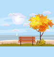 autumn landscape on the sea ocean tree wooden vector image vector image