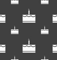 Birthday cake icon sign Seamless pattern on a gray vector image vector image