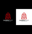 camera shop logo design vector image