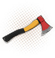 cartoon axe icon with yellow handle vector image vector image