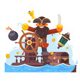 cartoon pirate with sword and hook on ship vector image vector image