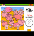 counting pigs animals educational game vector image vector image