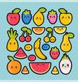 cute hand drawn kawaii tropical smiling fruit vector image vector image