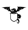 dragon with shield sign vector image