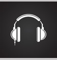 earphones icon on black background for graphic and vector image