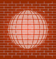 earth globe sign whitish icon on brick vector image vector image