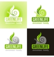 Ecological symbol logo icon set with snail shell vector image vector image