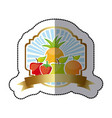 emblem fruits icon stock vector image vector image