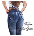 fashion girl staying back in jeans vector image