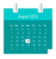 Flat calendar page for August 2014 vector image